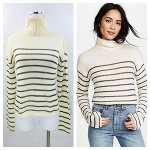 A.L.C Elisa Metallic Stripe Turtle Neck Sweater